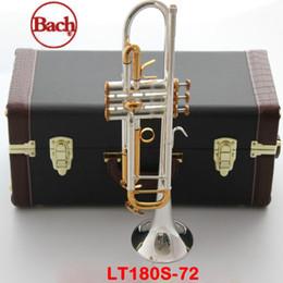 trompa instrumento musical Desconto 100% original trompete Bach LT180S-72 B flat Banhado a Prata botão de ouro trompete profissional Top instrumentos musicais chifre De Bronze