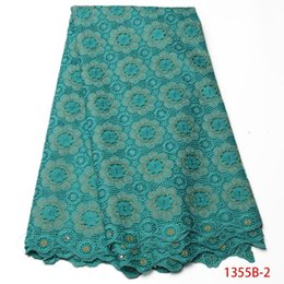 Wholesale swiss voile embroidery lace - Swiss Voile Lace In Switzerland 2017 Green Color Embroidery Fabric With Stones Cotton Materials african lace fabric QF1355B-2