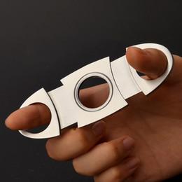 Cuchillos de bajo precio online-Bolsillo de moda Cuchillo de acero inoxidable Cortador de puros Cuchillas dobles 100% Nuevo Buena calidad Precio bajo Accesorios de puros Accesorios para fumar