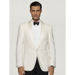 6b67ef634b1 New Ivory Satin lapel smoking masculino Groom Wedding Suits For Men  Groomsmen Tuxedos 2 Pieces mens Suits ( jacket+Pants+tie) smoking jackets  outlet