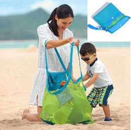 Wholesale Toy Football Tables - Folding Baby Child Toy Storage Bags Beach Mesh Bag Child Bath Toy Storage Bag Cases Net Baskets for outdoor Hanging Big Volume BBA185