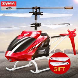 Wholesale Indoor Toy Helicopter - SYMA W25 2 Channel Indoor Mini RC Helicopter with Gyroscope by Rock Remote Control toys kid Present Gift Red Yellow Color