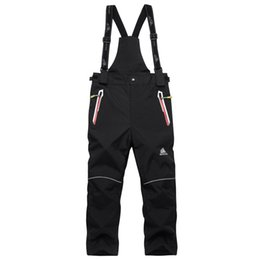 Wholesale Children Ski Suit - Children Girl And Boy Overalls Skiing Suit Pants Kids Outdoor Snowboarding Trousers Waterproof Thermal Winter Ski Suspended Pant