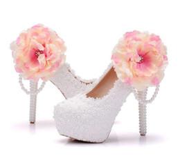 c60e47b6e Мода белое кружево бисером цветок женщина обувь 14 см на высоком каблуке  Обувь тонкий каблук водонепроницаемый свадьба невеста обувь большой размер  34-41
