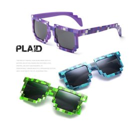 Wholesale pixel green - Infant kids Pixel Sunglasses Plaid Square Baby Sunglasses Children Sun Glasses Wear Radiation Protection HD Resin Eyewear EEA14