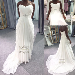 Wholesale Sweetheart Neckline Draped Chiffon Dress - Attractive strapless chiffon sweetheart Neckline A-line Wedding Dress Africa corseted waist Wedding Gown For Wedding Party Day
