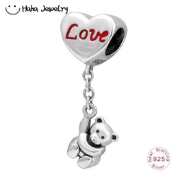 Fascini di braccialetto di pandora di valentine online-Haha Jewelry Orso con amore Cuore Charm Autentico 925 Sterling Silver San Valentino regalo Bead Fit Pandora Charms Beads Bracciale Making