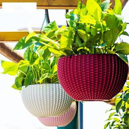 Wholesale Decoration Flower Basket - Hanging Flower Pot Chain Plastic Waven Planter Basket Garden Flexible Innovative Basket Flower Pot Home Decoration OOA5086
