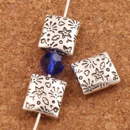 Jóias feitas contas quadradas on-line-150 pçs / lote Tom de Prata Estrela Flor Esculpida Padrão Quadrado Contas Achados Plana Jóias Fazendo L1797 10X9mm