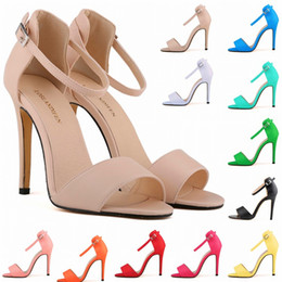 yellow sandals heels Australia - New Arrival European and American Style Sexy Shallow Sandals Women's Fashion Buckle Nubuck Leather High Heels Shoes for Women