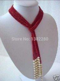 """Collar blanco del encanto del coral online-! 5 mm encantador collar de bufanda de perlas blancas de coral rojo 50 """"jt5100"""