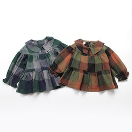 Wholesale Brown Ruffle Blouse - Everweekend Kids Girls Western Fashion Spring Autumn Plaid Tops Ruffles Blouse Shirt Clothing Sweet Children Tops
