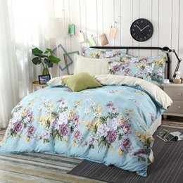 Wholesale yellow rose comforter - 2018 Bedding Linens Home New Printing 1.8m (6 Feet) 4pcs Bedding Set King Queen Size Modern Linens Comforter Sets Cp015