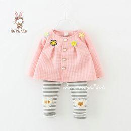 Argentina 2018 niñas tops niño niñas ropa abrigo conjunto chaqueta + polainas niños ropa bebé vestido de flores diseñadores de ropa de vestir cheap coated leggings Suministro