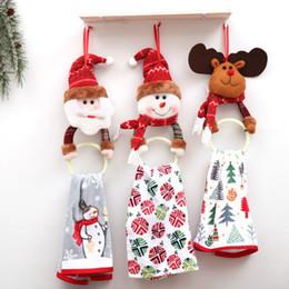 bagues de toilette Promotion De noël Père Noël Elk Rag Serviette Anneau De Suspension Racks Titulaire Décorations pour la Maison Cuisine Salle De Bains Pendentifs D'arbres De Noël 2018 Y18102609