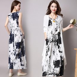30675f65766b Vintage Dresses Summer 2018 Chinese Ink and wash painting Printed Long  Cotton linen Set 2 Pieces Women Casual Dress Plus Size