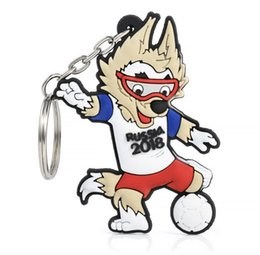 Wholesale Wolf Cup - DHL new World Cup Keychain mascot 2018 Russia football soccer Waka Key Chain Souvenir FIFA wolf Chain Keychain Gift for girlfriend