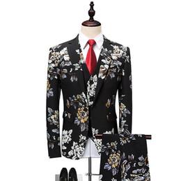 2020 костюмы для мужчин Floral Suit Men 2018 Latest Coat Pant Designs Wedding Suits for Men Plus size 4XL 5XL 6XL Slim Fit Mens Party Prom Suits дешево костюмы для мужчин
