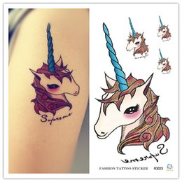 Wholesale Stickers For Tattoos - Wholesale- Harajuku waterproof temporary tattoos for lady women lovely cartoon Unicorn design flash tattoo sticker Free Shipping R3023