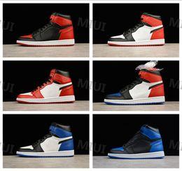 separation shoes 137aa 51844 Hohe Qualität 1 OG Bred Toe Schwarz Rot Männer Basketball-Schuhe Chicago 1s  Sport Sneakers Top 3 Gebanntes Spiel Royal Blue Größe 7-13