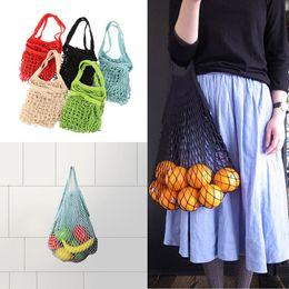 Wholesale turtle bags wholesale - Reusable Solid Shopping Bag Mesh Net Turtle Handbag String Grocery Bag Shopper Tote Coton 12 Colors NNA372