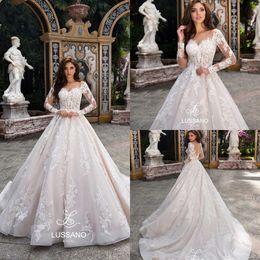 Wholesale Simple White Corset - New Design 2018 Gorgeous Arabic Long Sleeves Wedding Dresses Sheer Neck Full Lace Appliqued Corset Court Train Bridal Gowns BA9151