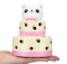 Wholesale home scented - Colossal Bear Cake Squishy Slow Rising Cream Squeeze Scented Bear Cake Home Decoration Gift Cure Toy DDA126