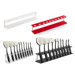 Wholesale Makeup Stands - 10pcs Toothbrush Makeup Brush Holder Stand Cosmetics Organizer Storage Boxes Brush Showing Rack Plastic Acrylic Oval Brushes Drying Stand