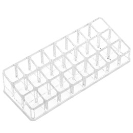 Wholesale Crystal Clear Storage Boxes - ome Organization Storage Boxes Bins Crystal 24 Spaces Clear Acrylic Lipstick Organizer With Lid Dustproof Lipgloss Holder Case Beauty Ma...