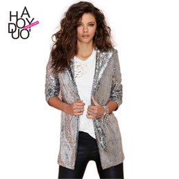 Wholesale Shiny Slim Fit Suits - 2017 New Fashion Silver Womens Sequin Coat Long Sleeve Suit Casual Slim Fit Jackets Coats Shiny Size XS-2XL Free Shipping