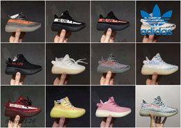 Wholesale Girls Flat Black Shoes - Kids Adidas Yeezy Boost 350 V2 Cream White Zebra Sply 350 Semi Frozen Beluga Boy Girls Running Shoes Sport Children Kanye West Yezzy