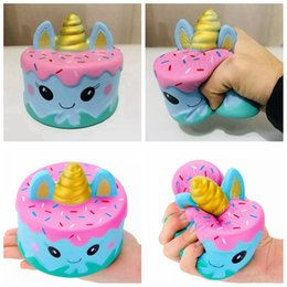Wholesale unicorn cakes - Kawaii Squishy Unicorn Cake Jumbo Cartoon Cream Bread Slow Rising Super Soft Jumbo Squeeze Stress Reliever AAA163