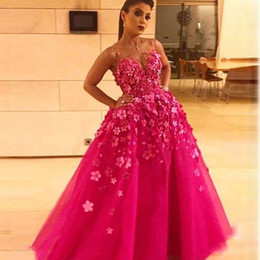 Wholesale princess style prom dresses pink - Beautiful Fuchsia Flowers Prom Dresses Arabic Style 2018 New Sheer Neck Princess Pageant Evening Gowns Floor Length