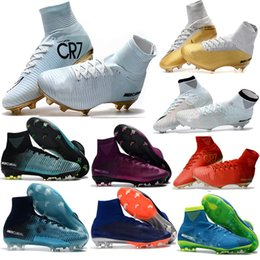 Wholesale yellow canvas shoes kids boys - Men Mercurial Superfly FG CR7 Football Shoes Boys Soccer Boots Women cheap original soccer Cleats Laser kids Soccer Shoes