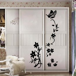 Wholesale Butterfly Wallpaper Decor - Creative Butterfly Flower Pattern Refrigerator Sticker Wall Stickers Home Decor Wallpaper Traditional Chinese Home Decor
