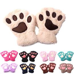 Luvas sem dedos on-line-Animal infantil luvas de pelúcia Dos Desenhos Animados cat garra crianças Sem Dedos Mitten 11 cores outono inverno Ao Ar Livre Do Bebê luvas de calor C5316