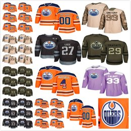 Wholesale Oranges Cancer - Mens Edmonton Oilers Custom Any name Any number Hockey Jerseys Salute Green Orange 100th 1917-2017 USA Flag Fights Cancer Practice Jersey