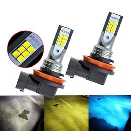 Wholesale h11 auto led bulb - Auto Fog Light Bulbs H8 H11 12SMD led Day Light Fog Lamp Bulbs White Ice blue Gold Yellow 2pcs lot