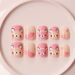 nails pink Australia - 24Pcs Pink Bears Fake Nails Cute Kawaii Short False Nails Acrylic Impress Nail Art Supply with Glue Sticker