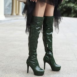 female boots leather over knee 2018 - Large Size Leather Shoes Women Over The Knee Boots Sexy High Heels Platform Shoes Thigh High Boots Female Pumps Winter