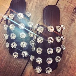 Wholesale Caged Heels - Summer Stylish Slides Cut-outs Med Chunky Heel Women Mules Luxury Slip On Beading Caged Women Rivet Studded Slippers