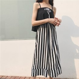 Wholesale Korean Jumpsuit Rompers - Oversize Jumpsuit High Waist Wide Leg Jumpsuit Female Off Shoulder Casual Sleeveless Jumpsuits Rompers Korean Fashion Clothing