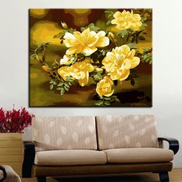 Wholesale Oil Painting Framed Abstract Yellow - DIY Digital Painting By Numbers Coloring Yellow Hibiscus Flowers Oil Pictures On Canvas Home Decor Wall Artwork Abstract Drawing