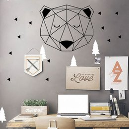 Wholesale Wall Decal Geometric - Nordic Style Woodland Bear Head With Triangle Wall Stickers Home Decoration Geometric Vinyl Wall Decal for Kids Rooms Mural A901