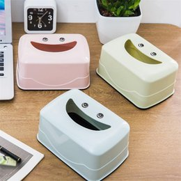 Wholesale plastic household products - Portable Cartoon Smile Tissue Box Multifunctional Thicken Storage Green Plastic Simple Fashion Decoration Household Products Hot