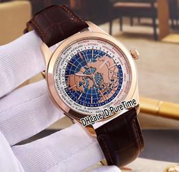 Relógios de pulso on-line-Novo 41mm Geophysic Tempo Universal 8102520 Rose Gold Earth dial Automático Mens Watch Pulseira De Couro Marrom de Alta Qualidade Esportes Relógios JLB02a1