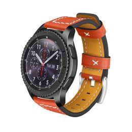 Argentina Correa de reloj EIMO para Samsung Gear s3 Frontier Band Clásico de cuero genuino pulsera de muñeca de 22 mm Accesorios para reloj de pulsera Smartwatch cheap wrist watch accessories Suministro