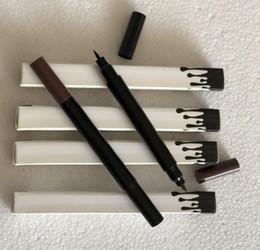 Wholesale gel eyeliner brown - Kelly Double Sided Liquid Eyeliner Makeup Double Eye Liner Brown and Black 2 in 1 gel eyeliner High Quality Free Shipping