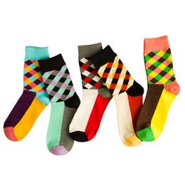 Wholesale Trendy Socks - 5 Pairs Men Short Sock Happy Socks British Wind Colorful Plaid Creative Trendy Men Socks Durable Stretchy Cotton Sock Meias Crew