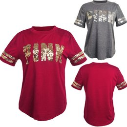Wholesale woman cotton top xxl - Love Pink Letter Summer Sequin T-shirt Women Girls Short Sleeve Tshirt Fashion Ladies Cotton Casual Top Tee S-XXL